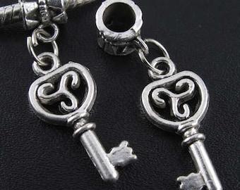 Key Charm Dangle  Bead Spacer Fits  European Charm Bracelets European Style Bracelet