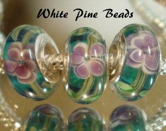 Aqua Blue and  Lavender Flower Handmade Lampwork Murano Glass Beads fit European Charm Bracelet