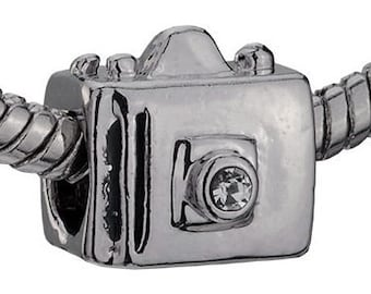 Camera Silver Plated Spacer Metal Beads for  European Charm Bracelet