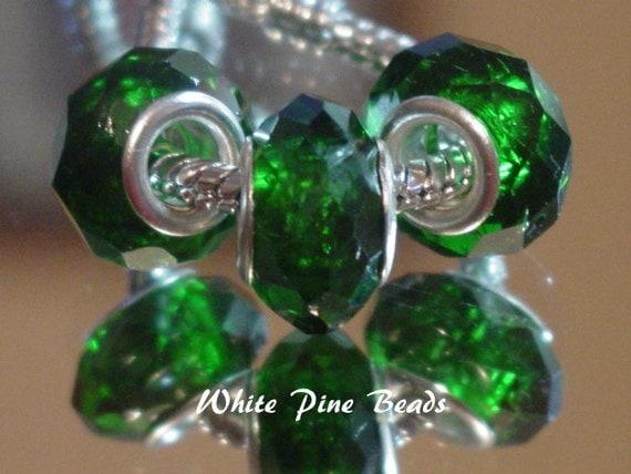 Dark Green Faceted Crystal Bead Fits European Bracelets