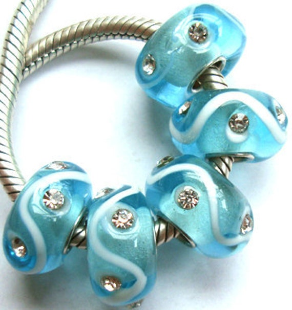 Aqua Blue with Clear Crystals Murano Glass Bead Fits European  Style Bracelets
