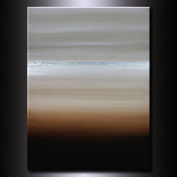 Horizon Painting: Neutral Abstract Beige Earth tones 30 x 40