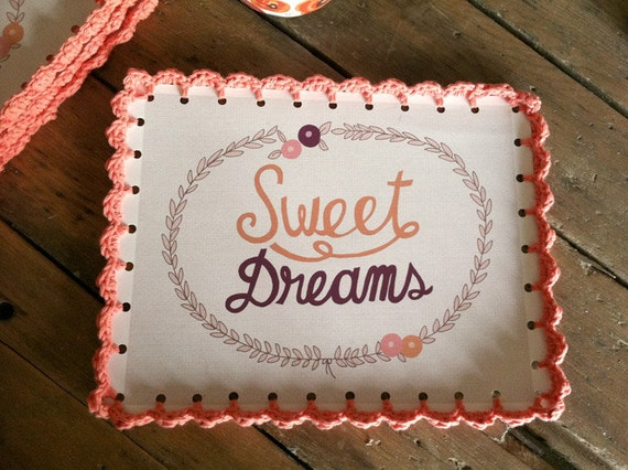 Sweet Dreams Coral Crocheted Print - 9 x 11 1/2