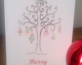 Holiday Ornament Tree Card - Blank Inside - Set of 5