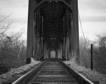 Old Bridge Railroad Tracks Poster - 20x28