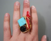 Turquoise, Red Coral, Onyx Stone on Gold Copper Wire Wrapped Ring
