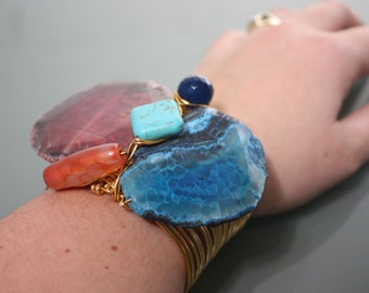 Raw Pink & Blue Agate, Carnelian, Turquoise Stone on Copper Wire Wrapped Cuff