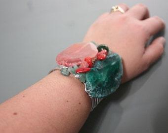 Quartz and Green Agate Stone on Silver Copper Wire Wrapped Cuff Bracelet