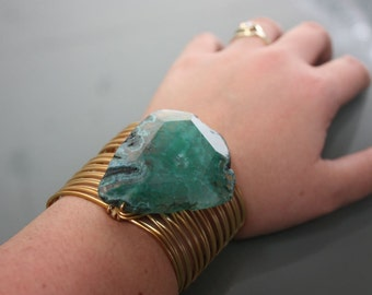 Green Agate Stone on Gold Copper Wire Wrapped Cuff Bracelet