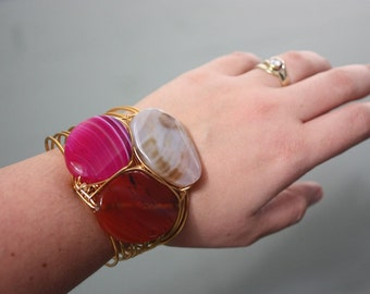 3 Agate Stones on Gold Copper Wire Wrapped Cuff Bracelet - PINK