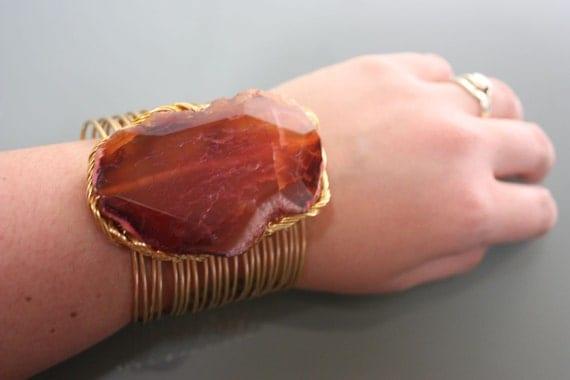 Agate Quartz Stone on Gold Copper Wire Wrapped Cuff Bracelet