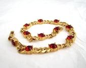 vintage Monet Rhinestone Link Bracelet ruby red 1960's