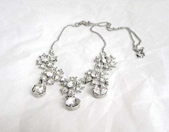 Vintage Rhinestone Necklace clear 1940's
