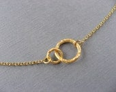 Tiny Gold Double Circle Necklace, Delicate, minimal, casual, everyday