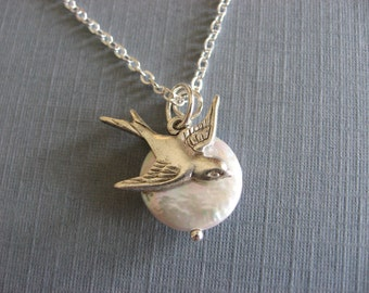 Full Moon Silver Sparrow and Pearl Necklace
