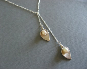 Silver Calla Lilly Necklace, Lariat Style Leaf Necklace