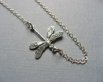 Dainty Silver Dragonfly Necklace