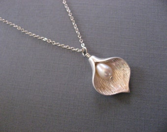 Calla Lilly Necklace, Silver Necklace Necklace