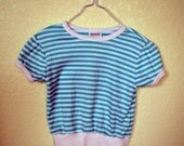 Vintage Striped Shirt Blue White  FREE SHIPPING