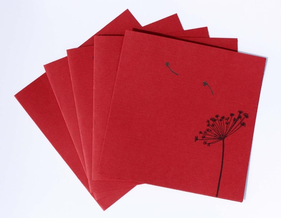 5 Blank Dandelion Cards Greeting Card Set Hand Stamped Greeting Cards With Envelopes
