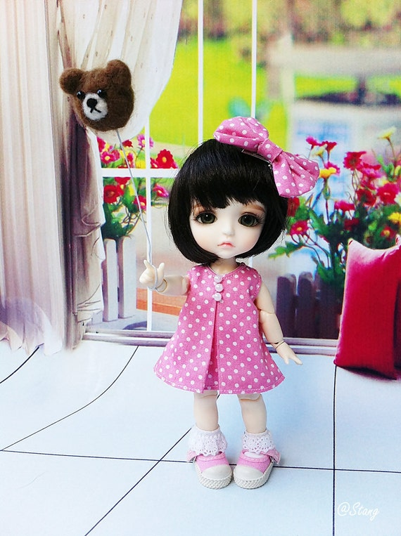 Pink polka dot dress for Lati yellow, Pukifee and other dolls with similar size