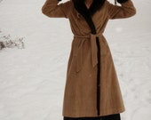 1960s Vintage Full Length Hooded Coat Faux Fur Lined Corduroy Womens size S M