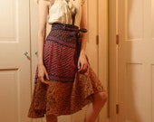 This Skirt Went to Woodstock /1960s India Print Hippie Skirt / Size Small/  Med