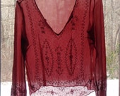 Vintage 90s Sheer Gauzy Red Blouse/ Beaded Embroidered Boho Blouse/ India  size S