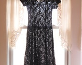 Sheer Black Lace Corset Dress/ Vintage 90s Goth Grunge Long Dress/ Size S