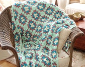 Vintage Granny Square Afghan/ Hand Crochet Throw/ Mint Green Teal Cream Rose