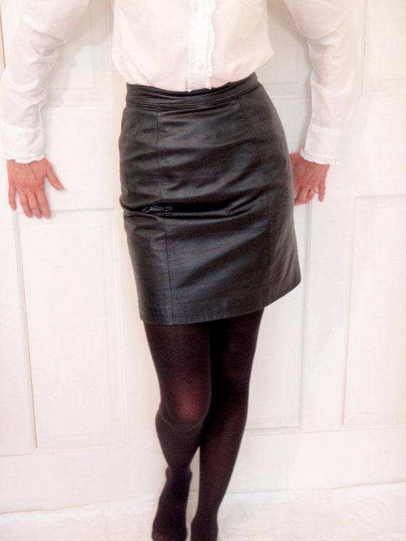 items similar to vintage 90s black leather mini skirt