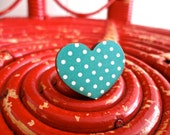 "Wooden Ring ""My Funny Valentine"" in Teal Polka Dot"