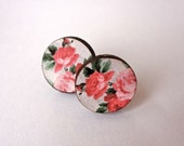 Wooden Floral Studs in Coral Rose