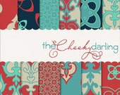"""Digital Paper Pack : """" over seas with a saucy ginger """" ( aqua - navy - red )"""