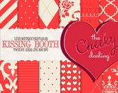 Digital Paper Pack : Kissing Booth ( retro red  inspired printables )