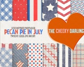 Digital Paper Pack : Pecan Pie in July (  Americana Retro Sweet Freedom  )