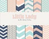 Digital Paper 12 Pack : Little Lady (aqua/Peach/Navy  hand drawn chevron series   )