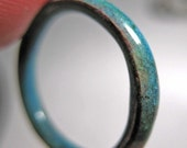 Blue Enamel Stacking Ring thin band water by PaulaEllisJewelry