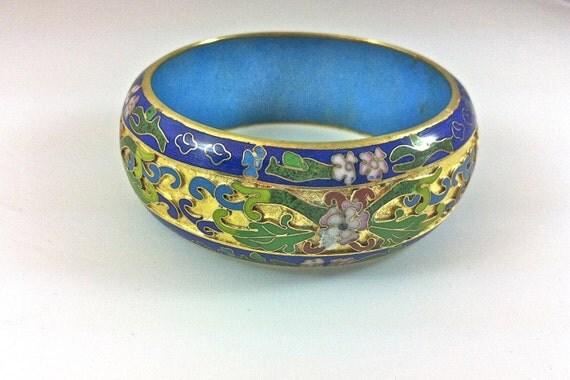 Vintage Cloisonne Bangle Bracelet // Blue Gold Floral Motif // Statement Piece // Asian Jewelry // 1950
