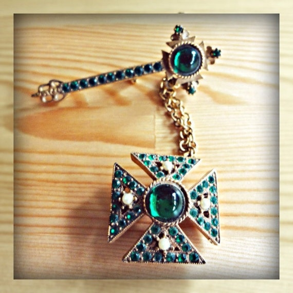Antique Emerald Maltese Cross Chatelaine WEST GERMANY