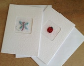 Ladybug and Dragonfly OOAK Handmade Cards - SPECIAL - Two for the price of one