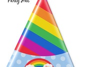 Rainbow Party  - Birthday Party Hat - DIY Party Printables - INSTANT DOWNLOAD and Print