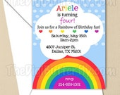 Rainbow Party - CUSTOM Birthday Party Invitation - DIY Party Printables - Digital Download and Print