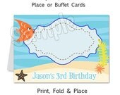 Under The Sea Party - Personalized Place or Buffet Cards - DIY Party Printables - Digital Download and Print