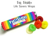 Rainbow Party - Personalized  Life Saver Roll Wraps - DIY Party Printables - Digital Download and Print