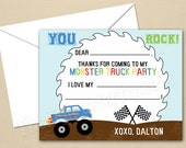 Monster Truck Party - CUSTOM Thank You Cards - DIY Party Printables - Digital Download and Print