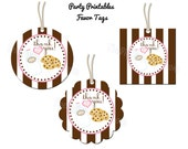 """Cookies & Milk Party - Thank You Favor Tags - 2"""" Party Circles  - DIY Party Printables - INSTANT DOWNLOAD and Print"""