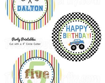 """Monster Truck Party - Personalized 4"""" Party Circles - DIY Party Printables - Digital Download and Print"""