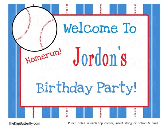 Baseball Boy Party - Personalized Welcome Sign - DIY Party Printables - Digital Download and Print