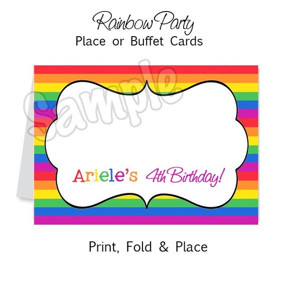 Rainbow Party - Personalized Place or Buffet Cards - DIY Party Printables - Digital Download and Print